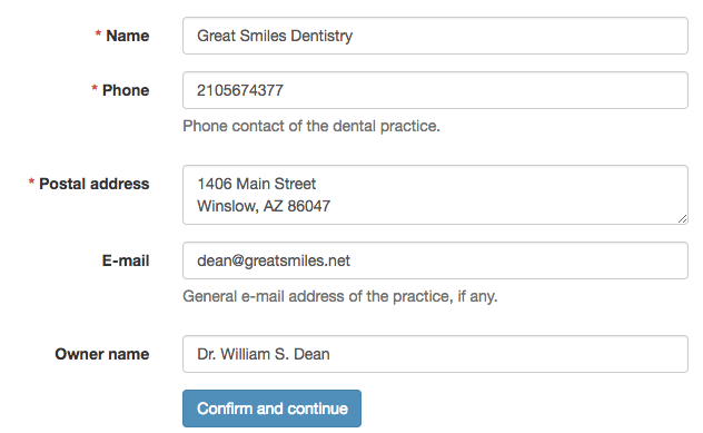 Dental Practice Record example page of web-based dental display quality assurance application.
