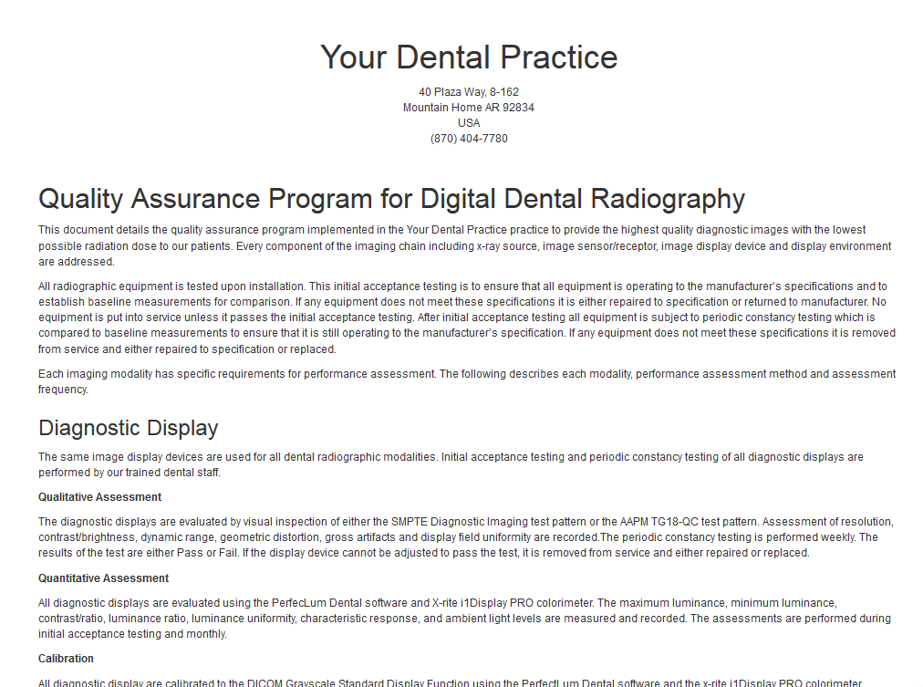 Example Quality Assurance Protocol page of the web-based dental display quality assurance application.