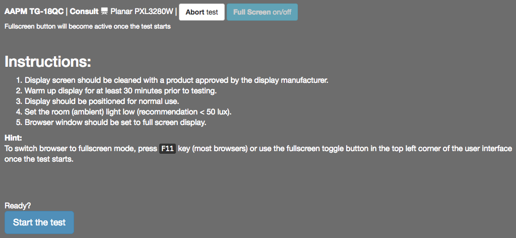 Instruction page for AAPM TG18-QC visual test pattern of the web-based dental display quality assurance application.